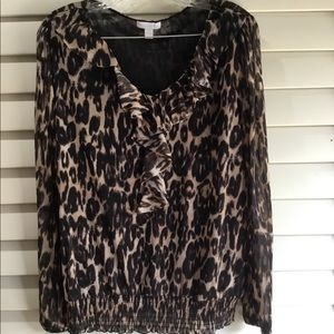 Leopard print long sleeve BLOUSE